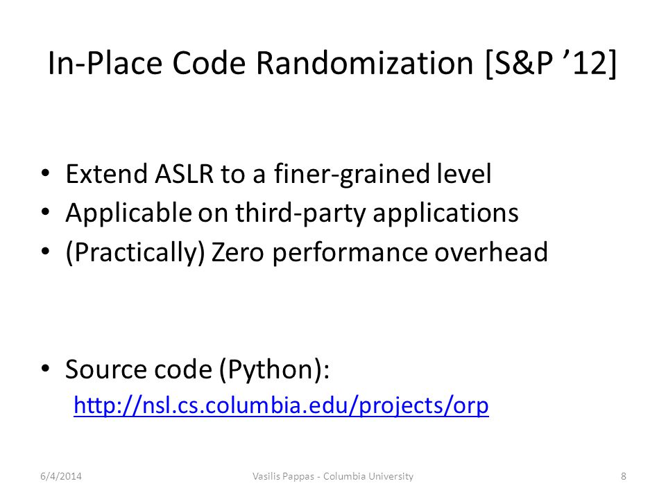 In-Place Code Randomization [S&P '12]